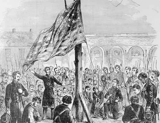 Maj. Anderson raising the flag on Fort Sumter